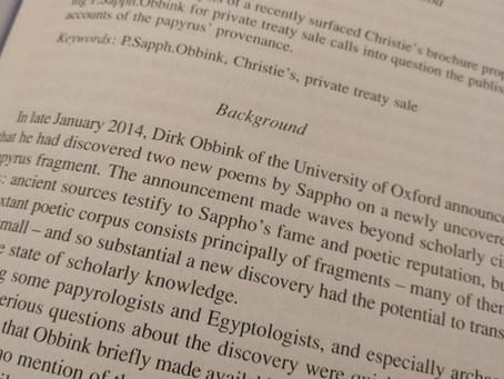 Metadata and Provenance: New Work on P.Sapph.Obbink