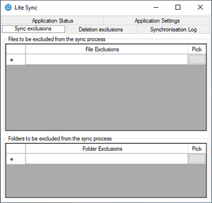 This is the file exclusion page of lite sync's file and folder sync software.