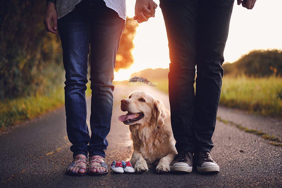 Брачен пар фатен за раце a помеѓу нив седи домашен миленик и бебешки чевли за новиот член на семејството