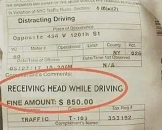 Receiving Head While Driving Ticket Meme