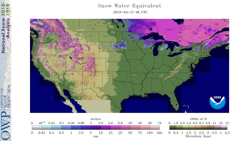 National Operational Hydrologic Remote Sensing Center : NOAA : Current Snowpack Liquid Totals (April 17th, 2019)