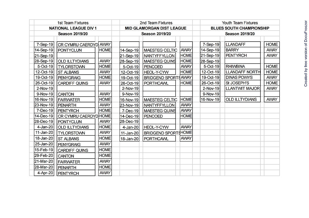 These are the fixtures for the coming season. Come along and support the boys.