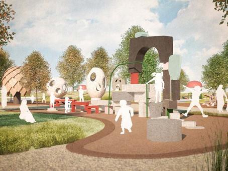 Lekskulpturer och grönskande gläntor i Jubileumsparken