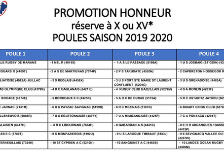 Le calendrier Promotion d'Honneur divulgué