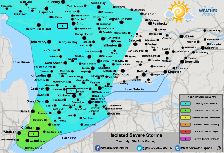 Thunderstorm Forecast, for Southern Ontario. Issued July 15th, 2019.