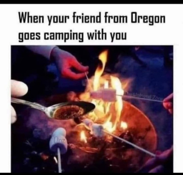 When your friend from Oregon goes camping with you