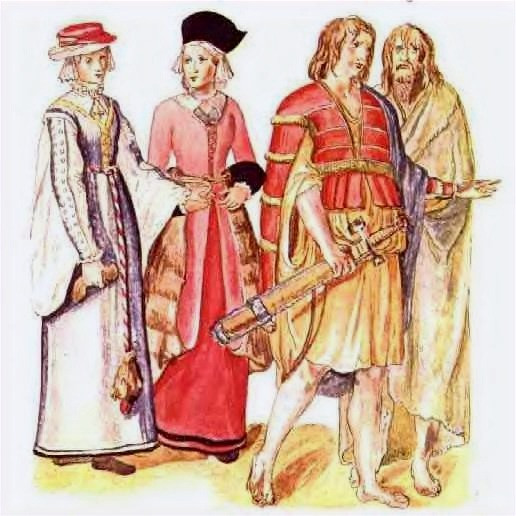 Image of four people, two women on the left and two barefoot mustachioed men on the right