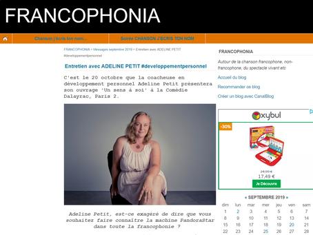 Entretien sur le livre Un Sens à Soi et PansoraStar pour le blog #Francophonia.