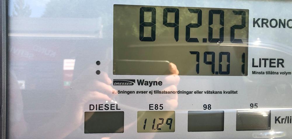 Bild på E85 pris efter tankad bil