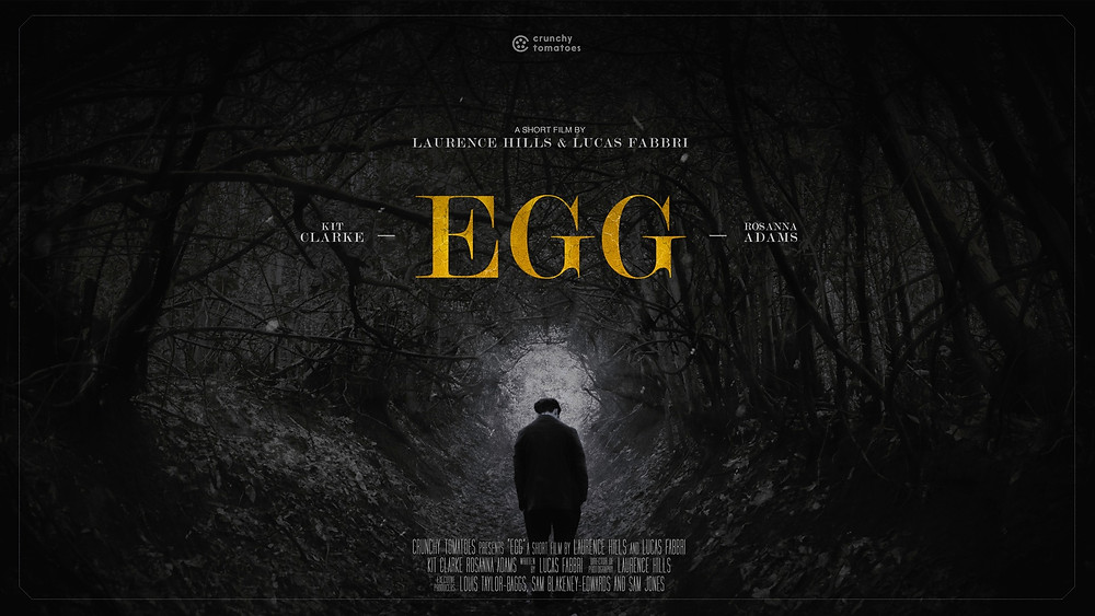A man stands alone in a forest, a path leading forward with a peering light creating the shape of an egg. Bold gold text reads 'Egg.'