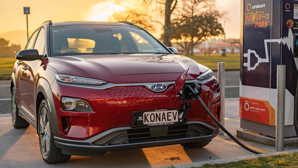 Hyundai Kona Electric 2019 front red fast charging Lake Taupo New Zealand Unison Power Park