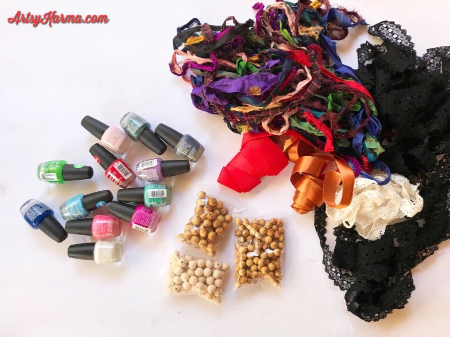 supplies to make nail polish marbled bead necklaces