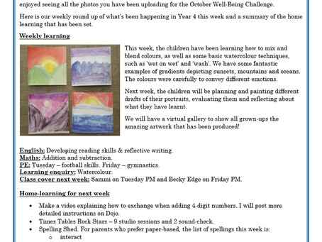 Year 4 Weekly Letter 16/10/20
