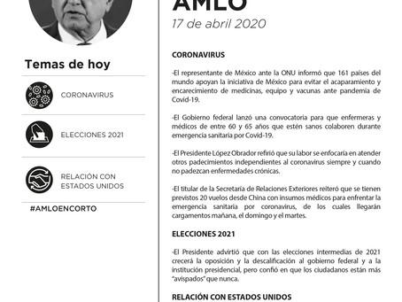 Resumen conferencia matutina AMLO. 17 abril 2020.