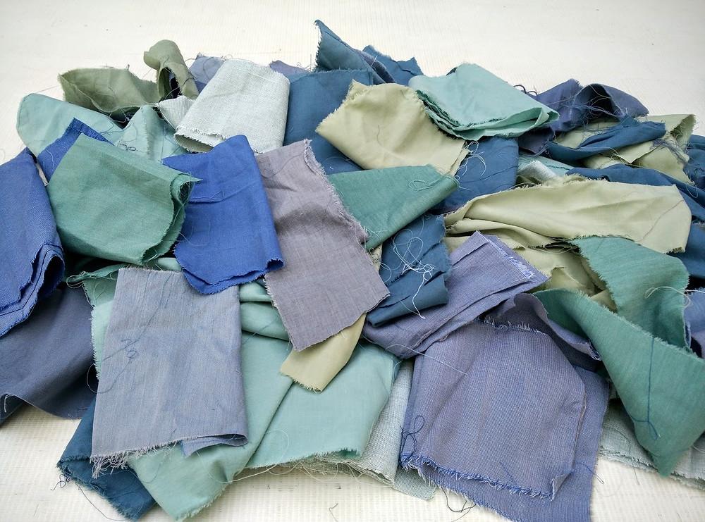 Teals and blues, fabric scraps