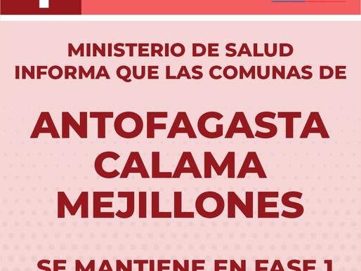 TOCOPILLA SALE DE CUARENTENA Y ENTRA EN FASE 2. ANTOFAGASTA, CALAMA Y MEJILLONES MANTIENEN FASE 1