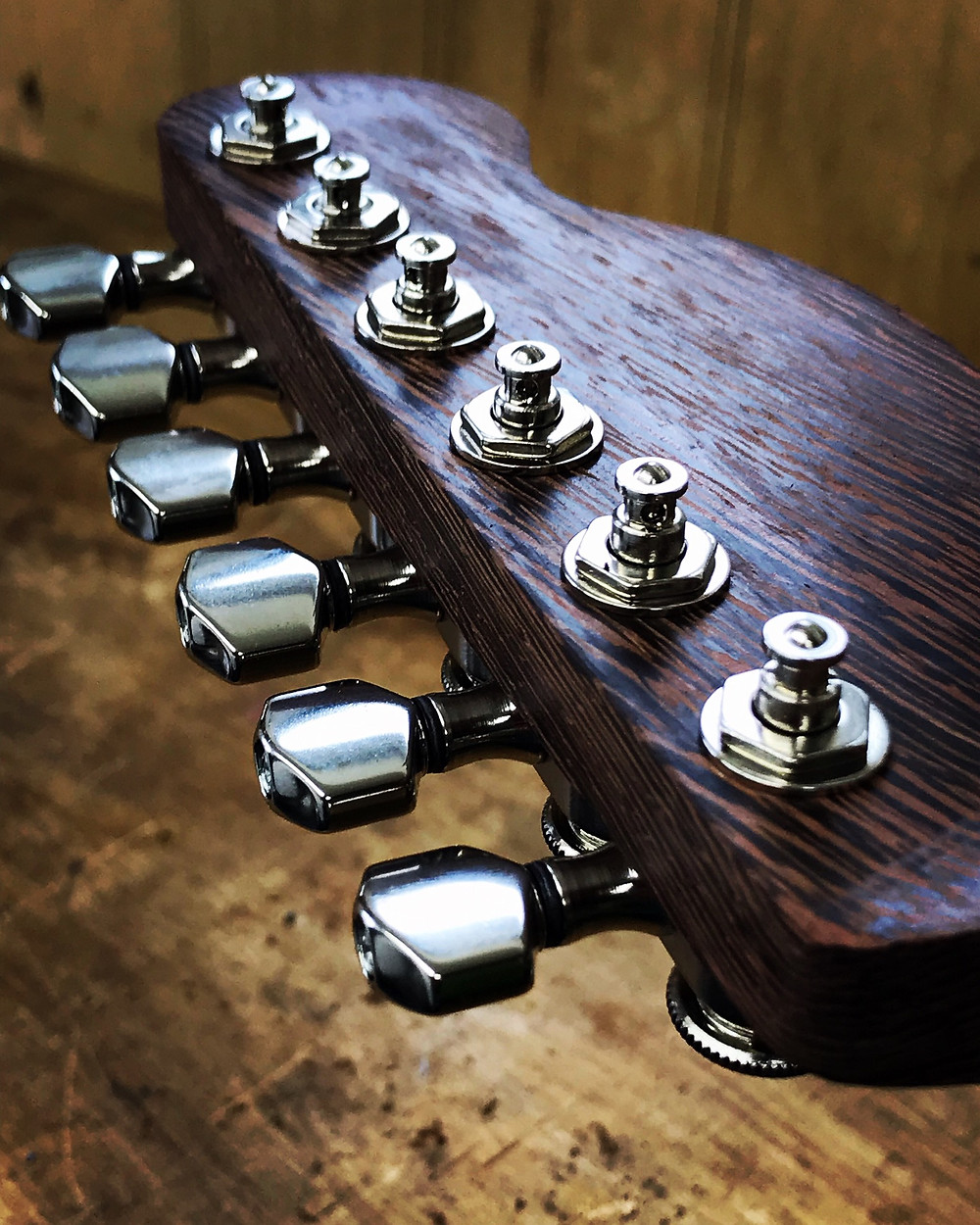 telecaster type guitar headstock neck made from wenge and fitted with Sperzel locking tuners on a custom electric by Malone Guitars in Billericay Essex