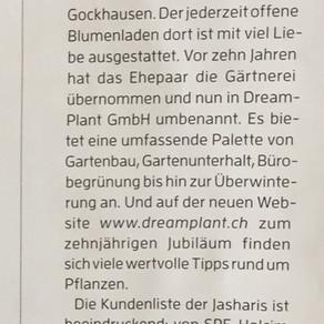 """Artikel """"mein Arbeitsplatz"""" in der Quartierzeitschrift Fluntermer"""