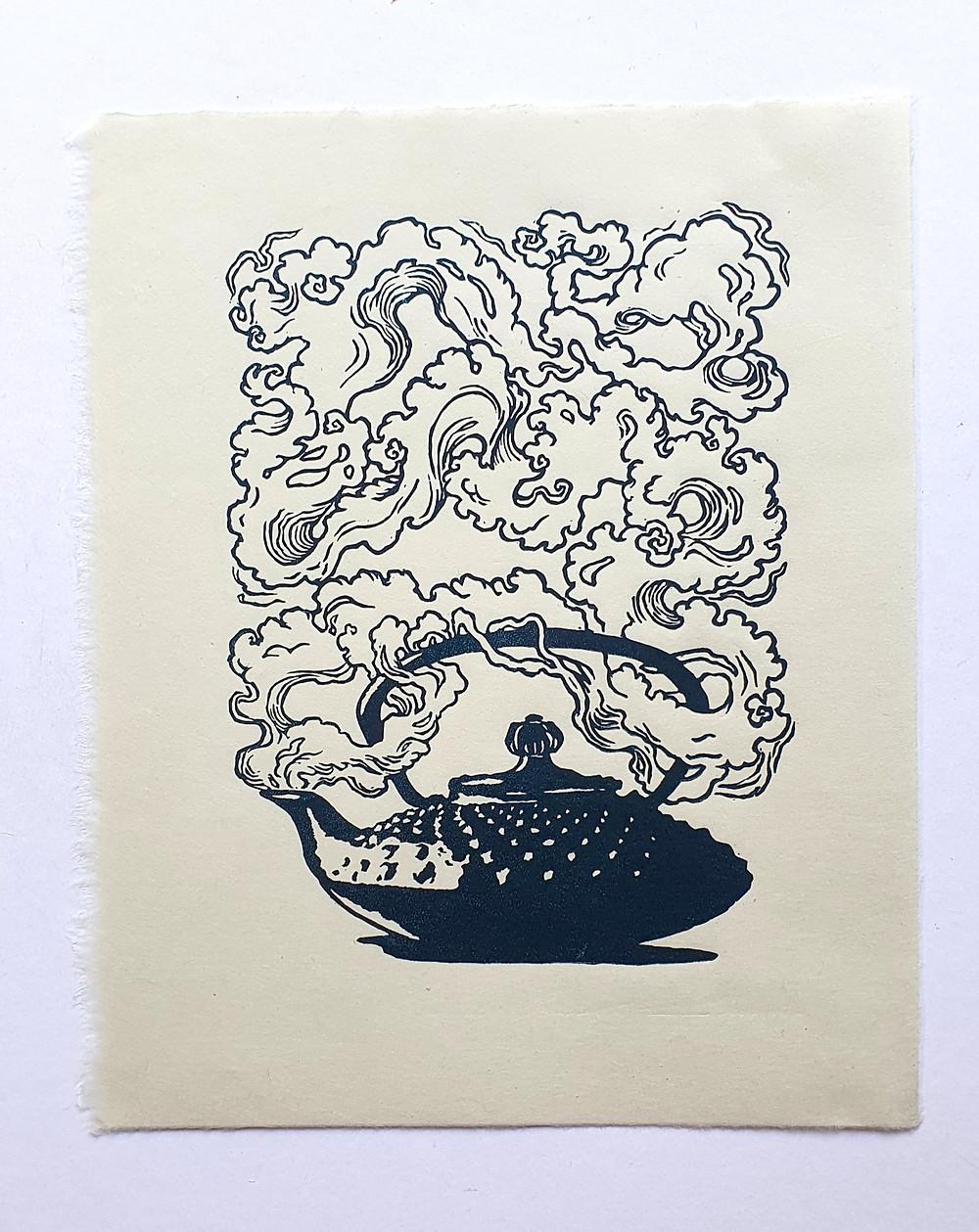 honeythief prints kettle linocut print