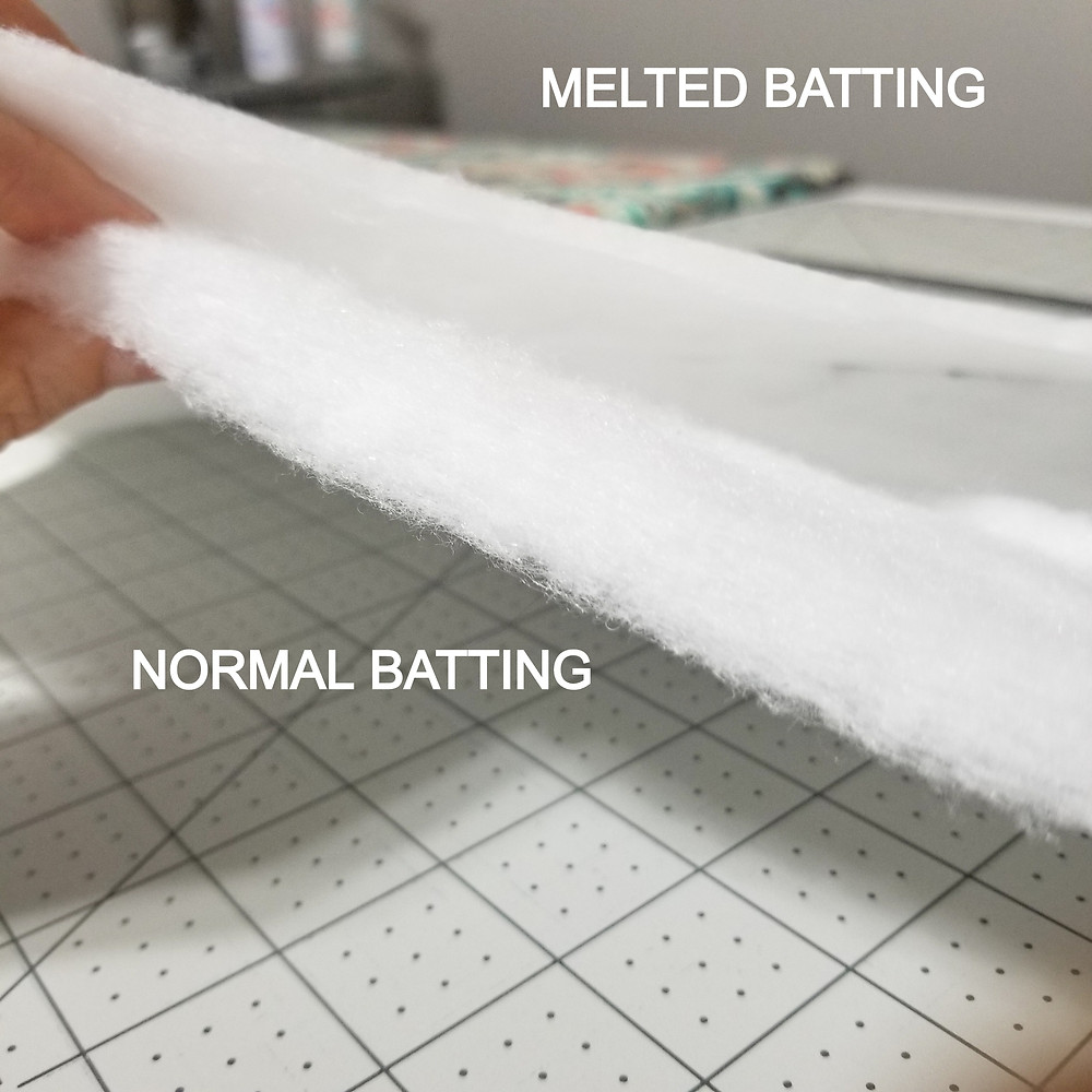 Photo comparison of normal vs melted batting