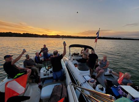 Nagawicka Lake 8/12 2 boats and a crew of 10