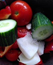 Ingrédients gaspacho Océane Weil Nature Nutritionniste Tomates Concombre Oignon Thermomix