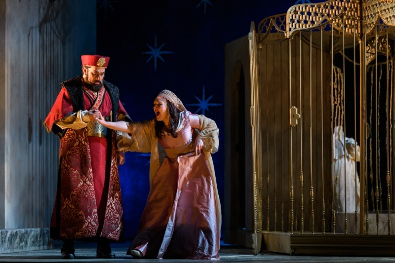 Alex Andreou and Lucy Hall in English Touring Opera's The Seraglio. All pictures: Jane Hobson