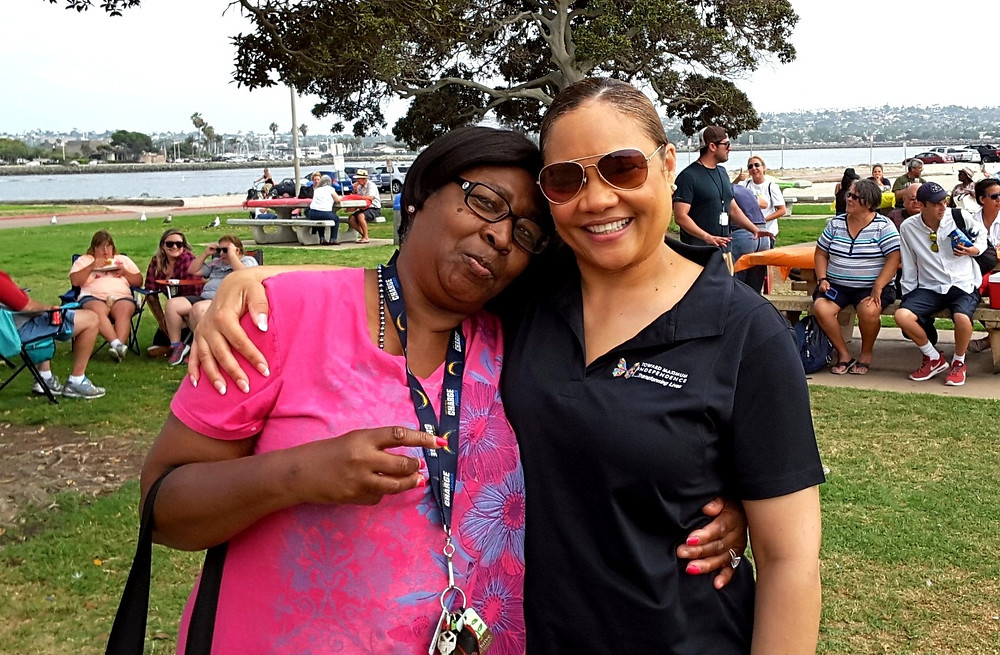 Rachel with our client, Laverne, at our Annual Picnic.