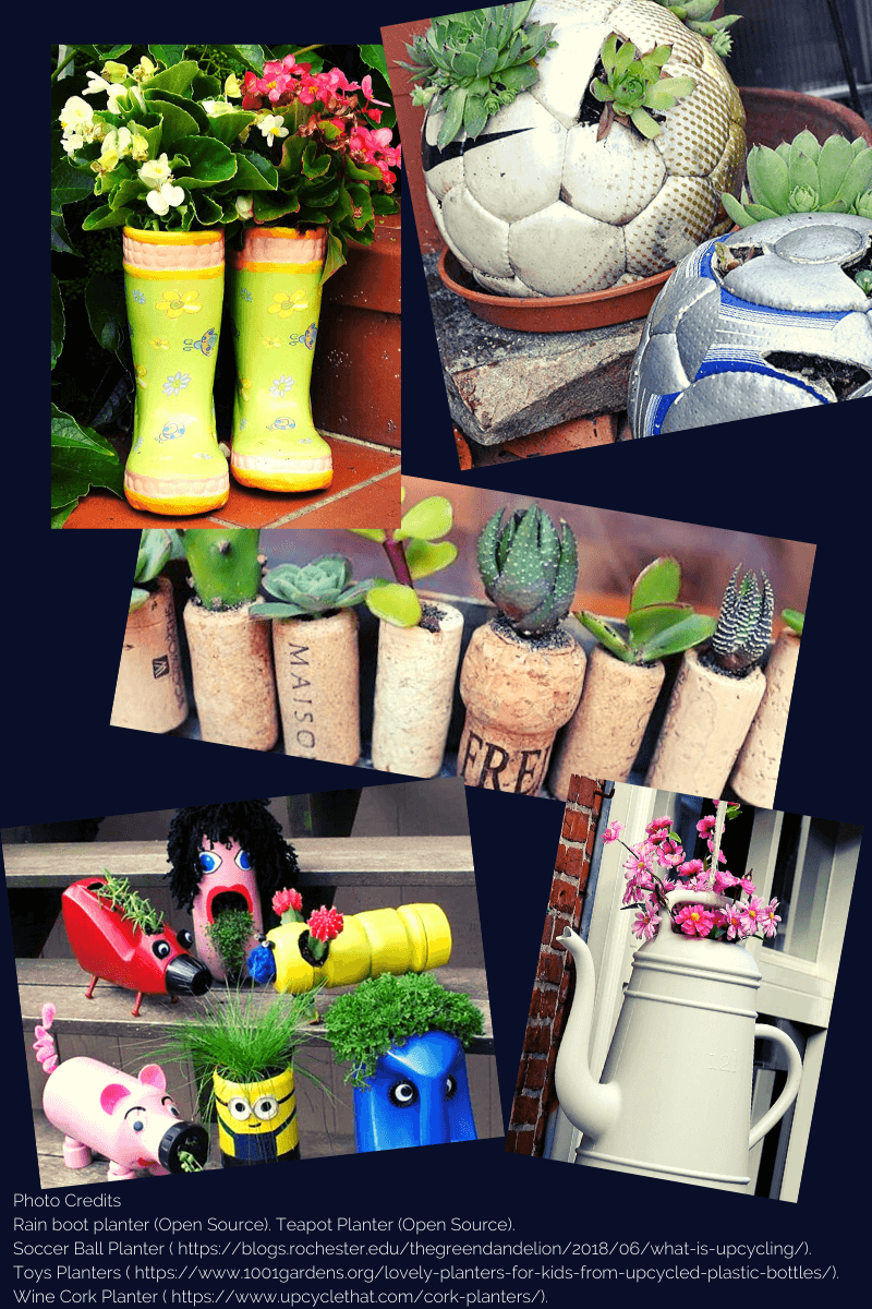 Photo collage of unique items used as planters. Items include Old teapots, soccer balls, wine corks, boots, kids toys. All items have been filled with plants. Wine corks, soccer ball, and small kids toys have been drilled open and filled with succulents. Rain boots and teapot are filled with flowering plants.