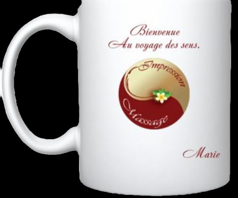 Mugs blanc impression massage 95, massage val d'oise