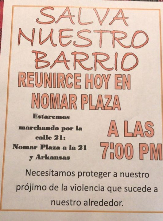 Flyer Distributed by Martin Garcia.
