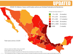 Interactive Map of Mexico - Cases and Rates. Accumulated cases by state of residence