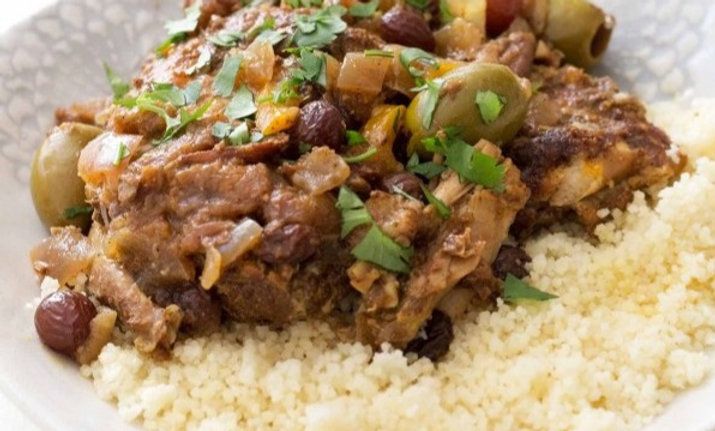 Moroccan Tagine Lemon Chicken and Olives w Couscous or Rice
