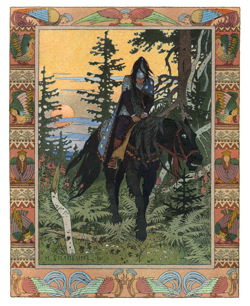 Man in armor riding a black horse through a forest.