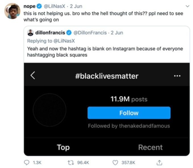 US rapper Lil Nas X's thoughts on Black Out Tuesday