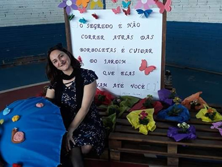 Márcia Funke Dieter na Semana Literária da Escola Amizade em Santa Maria do Herval