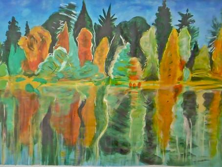 Un bord de l'eau d'après Adrian BERG / acrylique