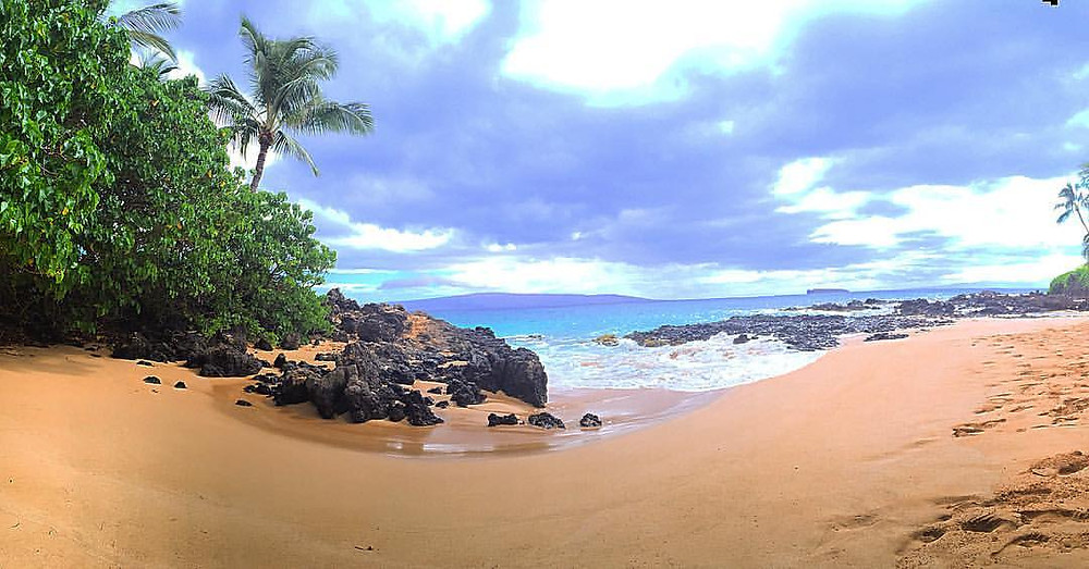 fish eye lens image of Makena Cove also known as Wedding Beach