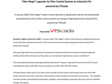 Filter Magic® upgrades its Filter Control Systems to Industrial PCs powered by VTScada