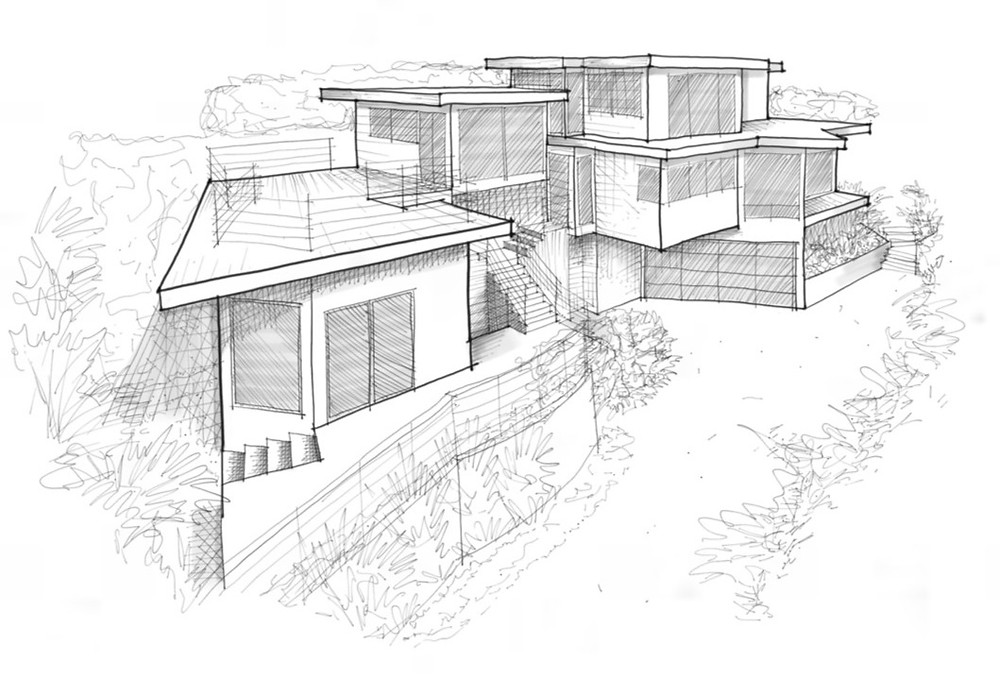 Architectural sketch showing proposed design