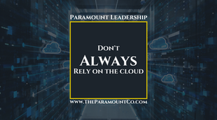Don't always rely on the cloud