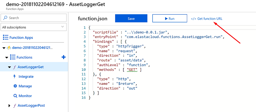 Getting the function URL from the Azure Portal