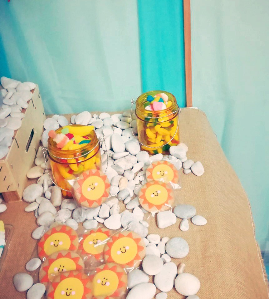 galletas sol mesa dulce cumpleaños playa