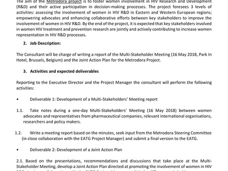 EATG is recruiting a report writer for Metrodora Project.