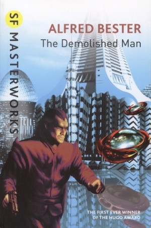 The cover shows a futuristic city, pyramidal skyscrapers sit in the background. The protagonist, in a red suit, gun in hand, walks along a suspended platform. A flying car with a silvery dome careens past him.