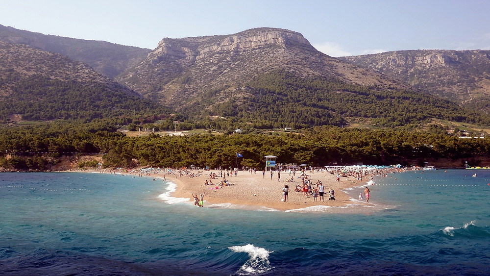 View of Vidova gora from Golden Horn beach in Bol, Croatia