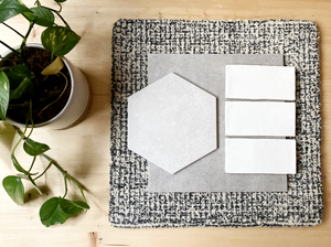 grey hex tile with handmade white subway tile