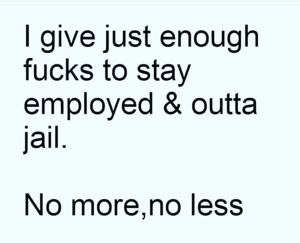 I give just enough fucks to stay employed & outta jail Meme & Many More Funny Work Memes!
