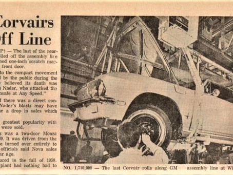 50 Years ago today, the last Corvair #6000 came off the line