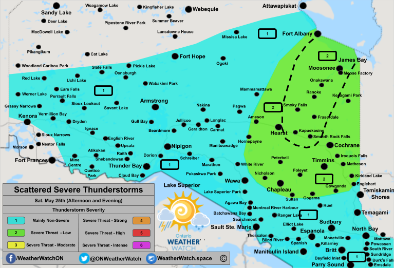 Thunderstorm Forecast, for Northern Ontario. Issued May 25th, 2019.
